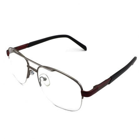 Extra Large semi rimless metal rectangle aviator